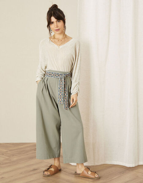 Embroidered Belt Wide Leg Trousers Green, Green (KHAKI), large