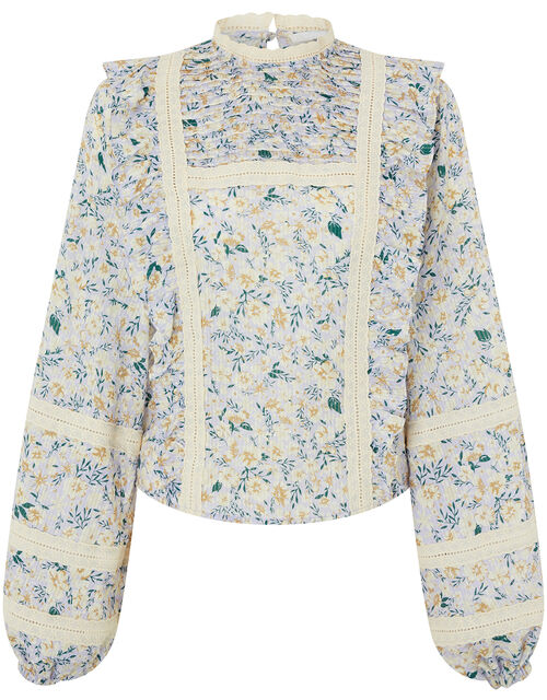 Floral and Broderie Lace Prairie Top, Purple (LILAC), large