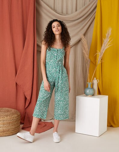 Printed Jumpsuit in Linen Blend Green, Green (GREEN), large