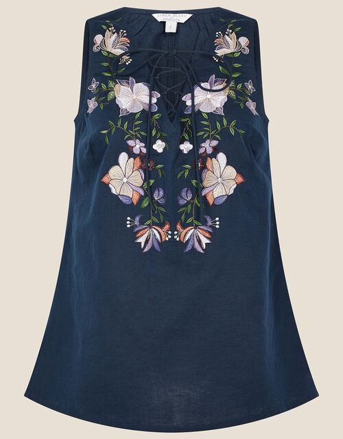 Floral Embroidered Sleeveless Top, Blue (NAVY), large