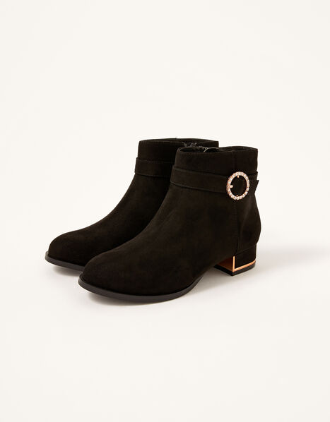 Diamante Heel Boots Black, Black (BLACK), large