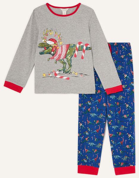 Christmas Dinosaur Pyjama Set Blue, Blue (NAVY), large