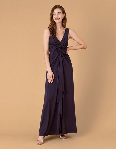 Jessie Jersey Twist V Neck Maxi Dress Blue, Blue (NAVY), large