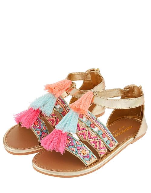 Lana Metallic Tassel Beaded Sandals, Multi (MULTI), large