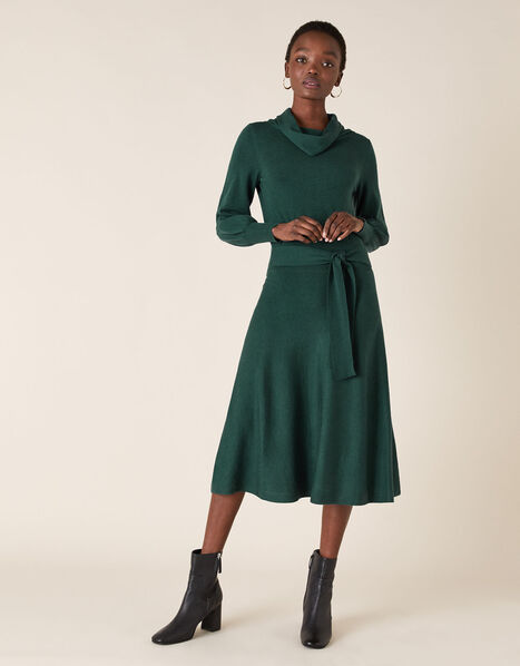 Cowl Neck Belted Knit Dress Teal, Teal (TEAL), large