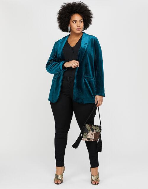 Tilly Velvet Jacket , Teal, large