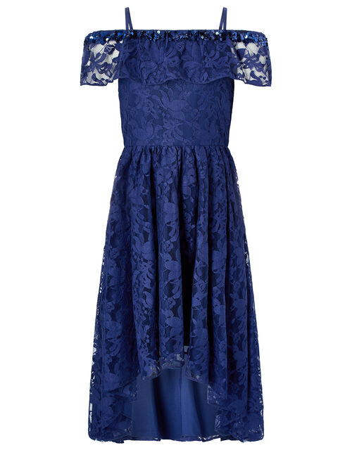 Lucy Navy Lace and Sequin Bardot Dress, Blue (NAVY), large
