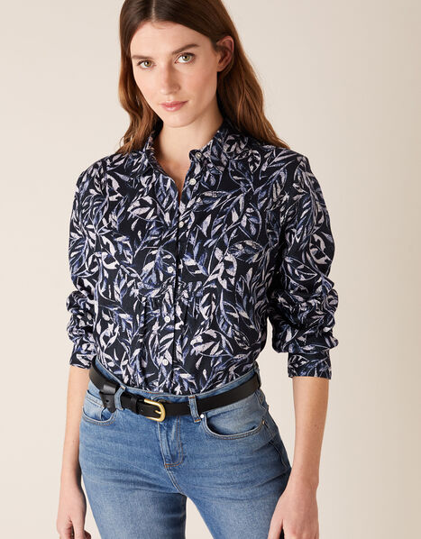 Phoenix Printed Shirt in Pure Linen Blue, Blue (NAVY), large