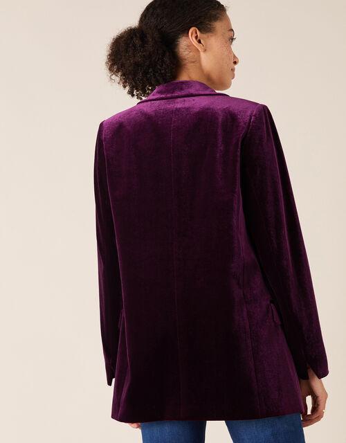 Velvet Blazer, Purple (PLUM), large
