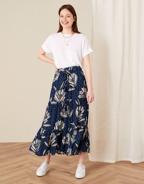 Zola Printed Maxi Skirt Blue, Blue (NAVY), large