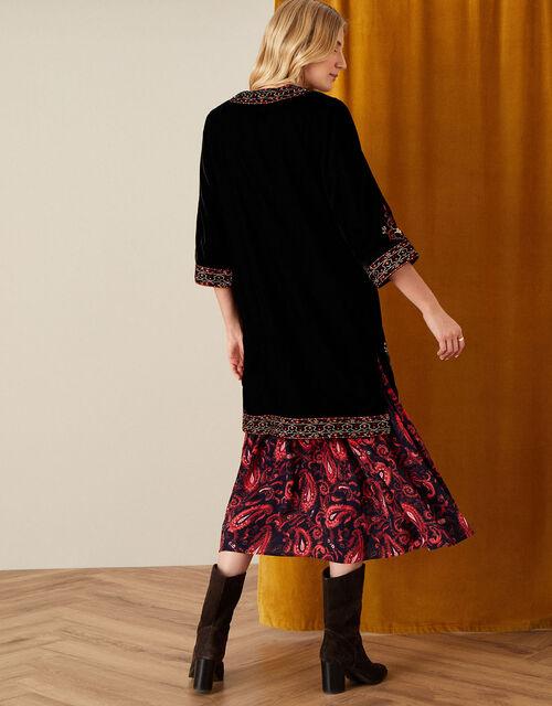 Embroidered Velvet Kimono, Black (BLACK), large