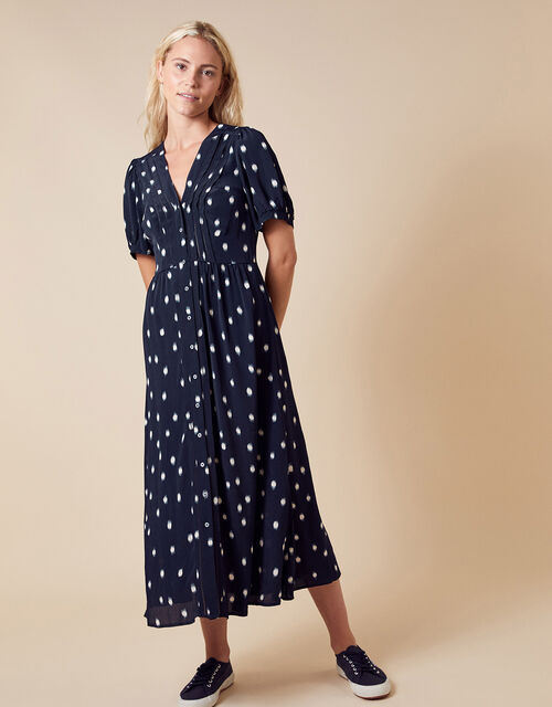 Spot Print Midi Dress in Sustainable Viscose, Blue (NAVY), large