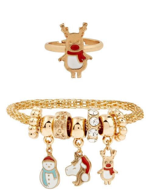 Festive Charm Trinket Bracelet and Ring Set, , large