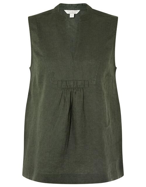 Jasmine Tank Top in Pure Linen, Green (KHAKI), large