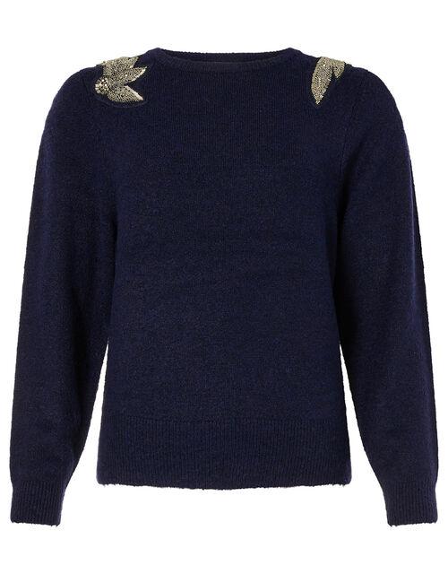 Beaded Shoulder Knit Jumper, Blue (NAVY), large