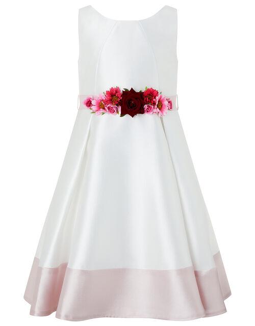 Jazzie Floral Belt Occasion Dress, Ivory (IVORY), large