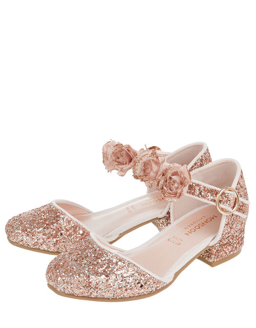 Abeline Glitter Corsage Two-Part Shoes, Gold (ROSE GOLD), large