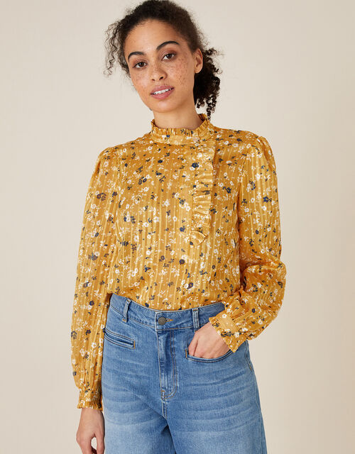 Ditsy Floral Frill Blouse, Yellow (OCHRE), large