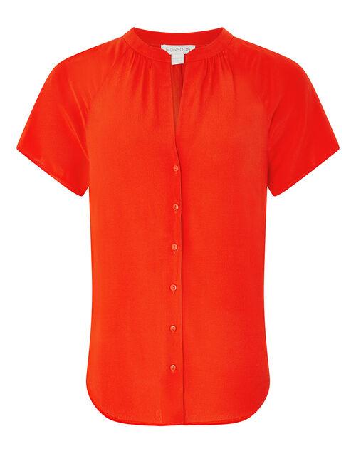 Zinnia Short Sleeve Blouse, Red, large