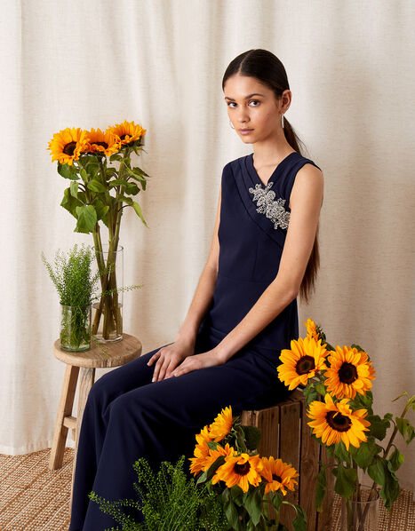 Maya Embellished Shoulder Maxi Dress Blue, Blue (NAVY), large