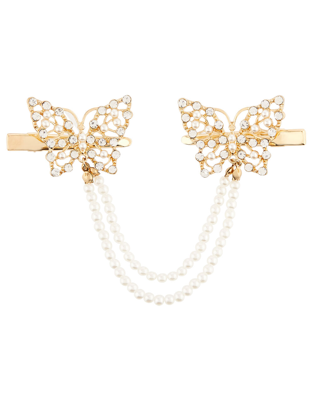 Pearly Butterfly Paired Hair Clips, , large