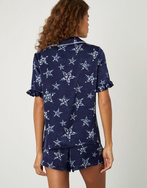 Star Print Short Pyjama Set, Blue (NAVY), large