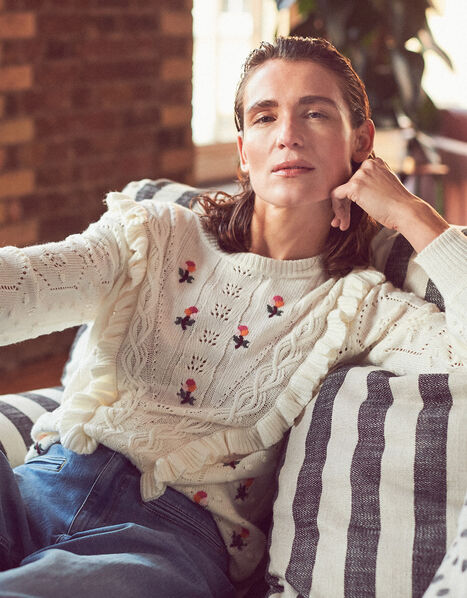 Embroidered Chunky Knit Jumper Ivory, Ivory (IVORY), large