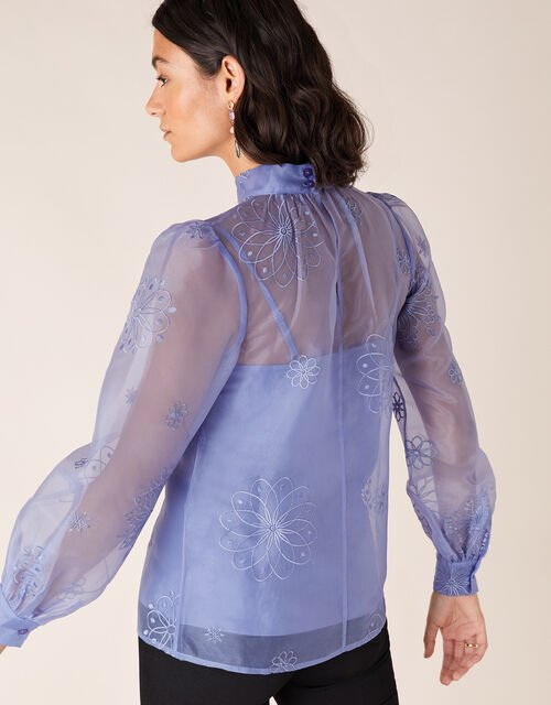 Aubree Floral Embroidery Organza Blouse, Blue (BLUE), large