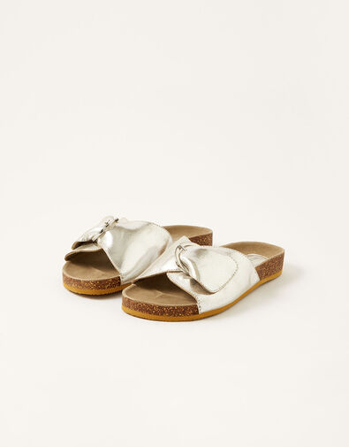 Mimi Metallic Leather Sandals Silver, Silver (SILVER), large