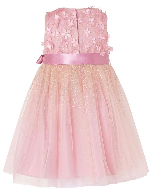 Baby Alison 3D Flower Glitter Dress, Pink (DUSKY PINK), large