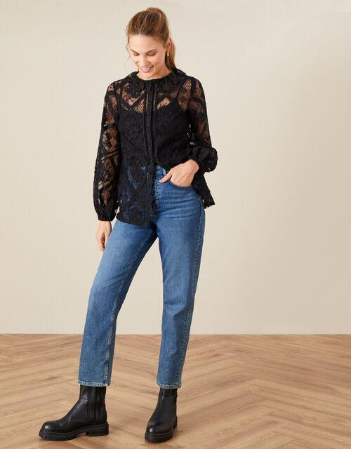Leila Collared Lace Blouse, Black (BLACK), large