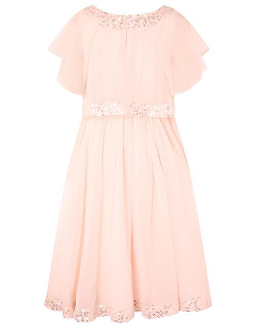 Meghan Sequin High-Low Party Dress, Orange (PEACH), large