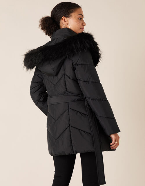 Saffi Padded Coat in Recycled Fabric, Black (BLACK), large