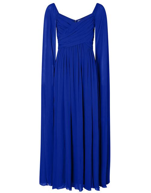 Lucie Bardot Chiffon Maxi Dress, Blue (BLUE), large