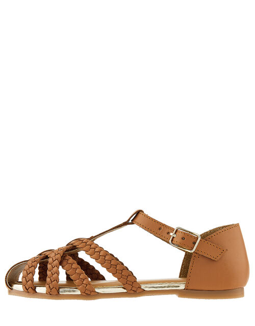 Luciana Caged Leather Sandals, Tan (TAN), large
