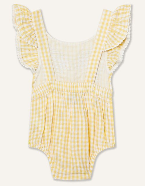 Newborn Lace and Seersucker Romper, Yellow (YELLOW), large