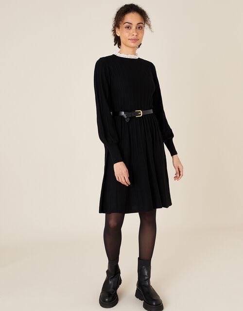 Woven Collar Knit Knee-Length Dress, Black (BLACK), large