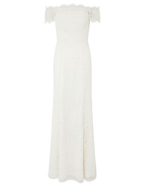Sophie Lace Bardot Maxi Wedding Dress, Ivory (IVORY), large