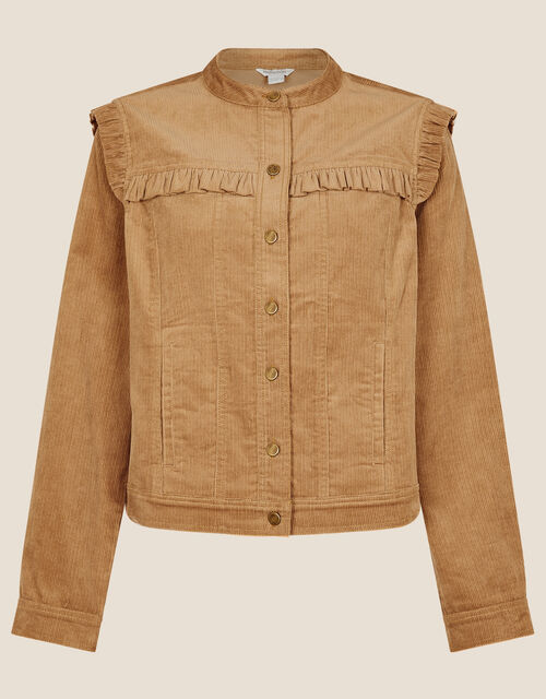 Frill Bib Cord Jacket, Camel (CAMEL), large