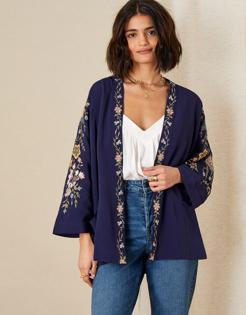 Floral Embroidered Short KImono, Blue (NAVY), large