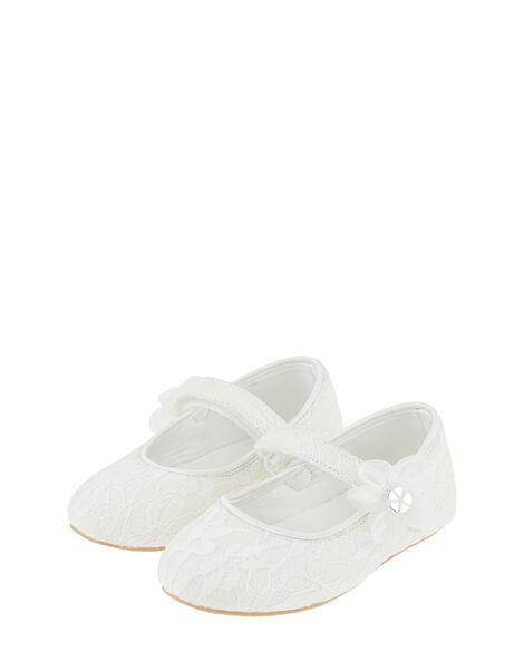 Baby Tiana Lace Corsage Walker Shoes Ivory, Ivory (IVORY), large