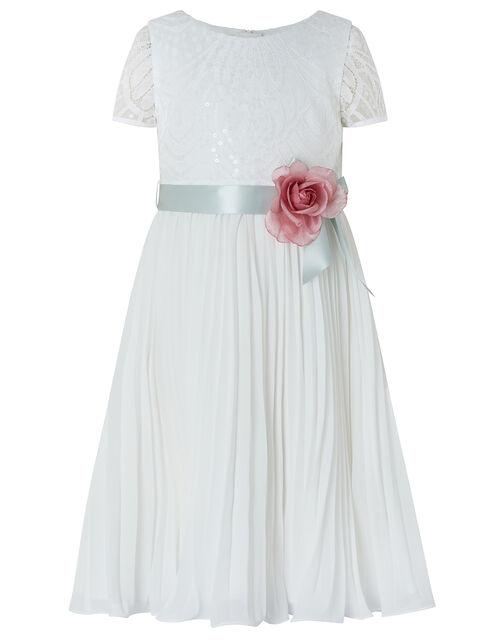 Layla Sequin Lace Pleated Dress, Ivory (IVORY), large
