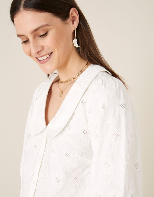 Schiffli Collar Top, Ivory (IVORY), large