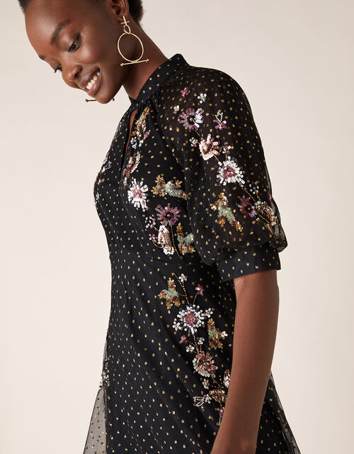Gwenevere Glitter Floral Sequin Dress in Recycled Fabric, Black (BLACK), large