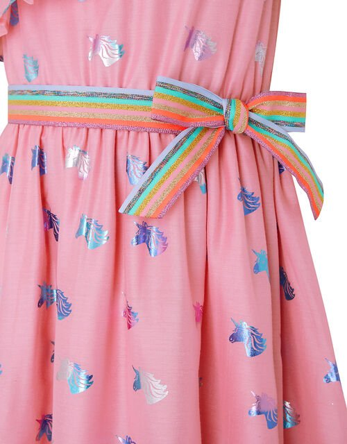 Foil Unicorn Dress with Rainbow Belt, Pink (PINK), large