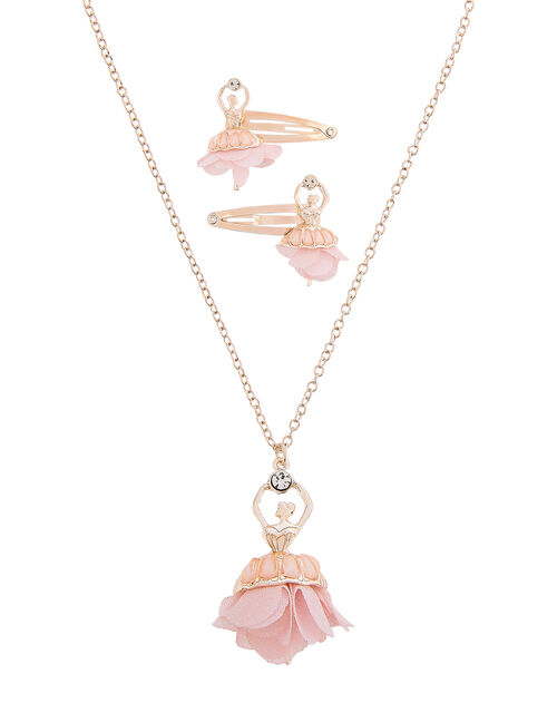 Ballerina Necklace and Hair Clip Set, , large