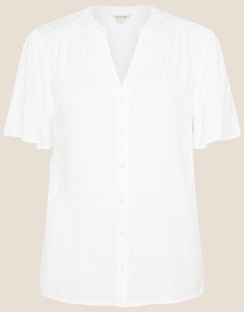 Frill Sleeve Top with LENZING™ ECOVERO™, Ivory (IVORY), large