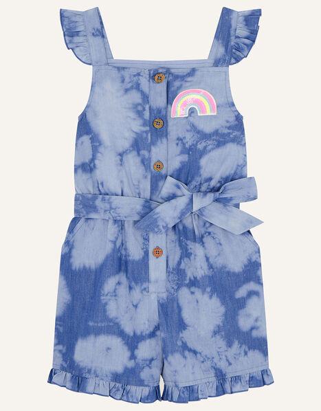 Sequin Rainbow Tie Dye Playsuit Blue, Blue (BLUE), large