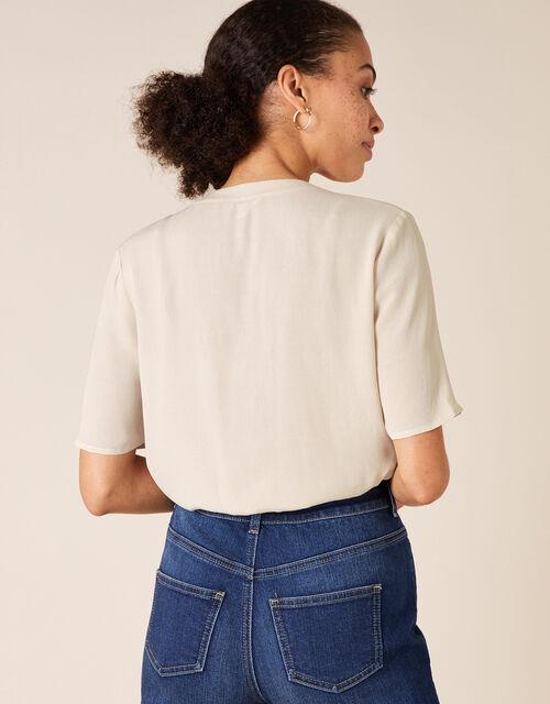 Tie Front Short Sleeve Top with LENZING™ ECOVERO™, Cream (CREAM), large