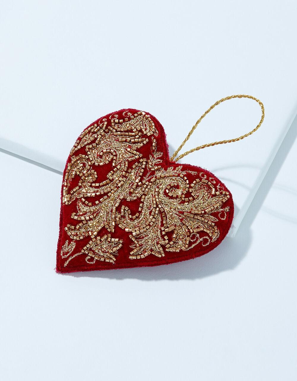 Embellished Heart Velvet Hanging Decoration, , large